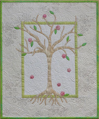 Springtime (emma_louise) Tags: snowflake pink original summer white tree green art leaves spring pattern quilt blossom gift quilting fiberart mctavish applique homedecor freemotion fibreart emming fmq fairyfrost sampaguitaquilts