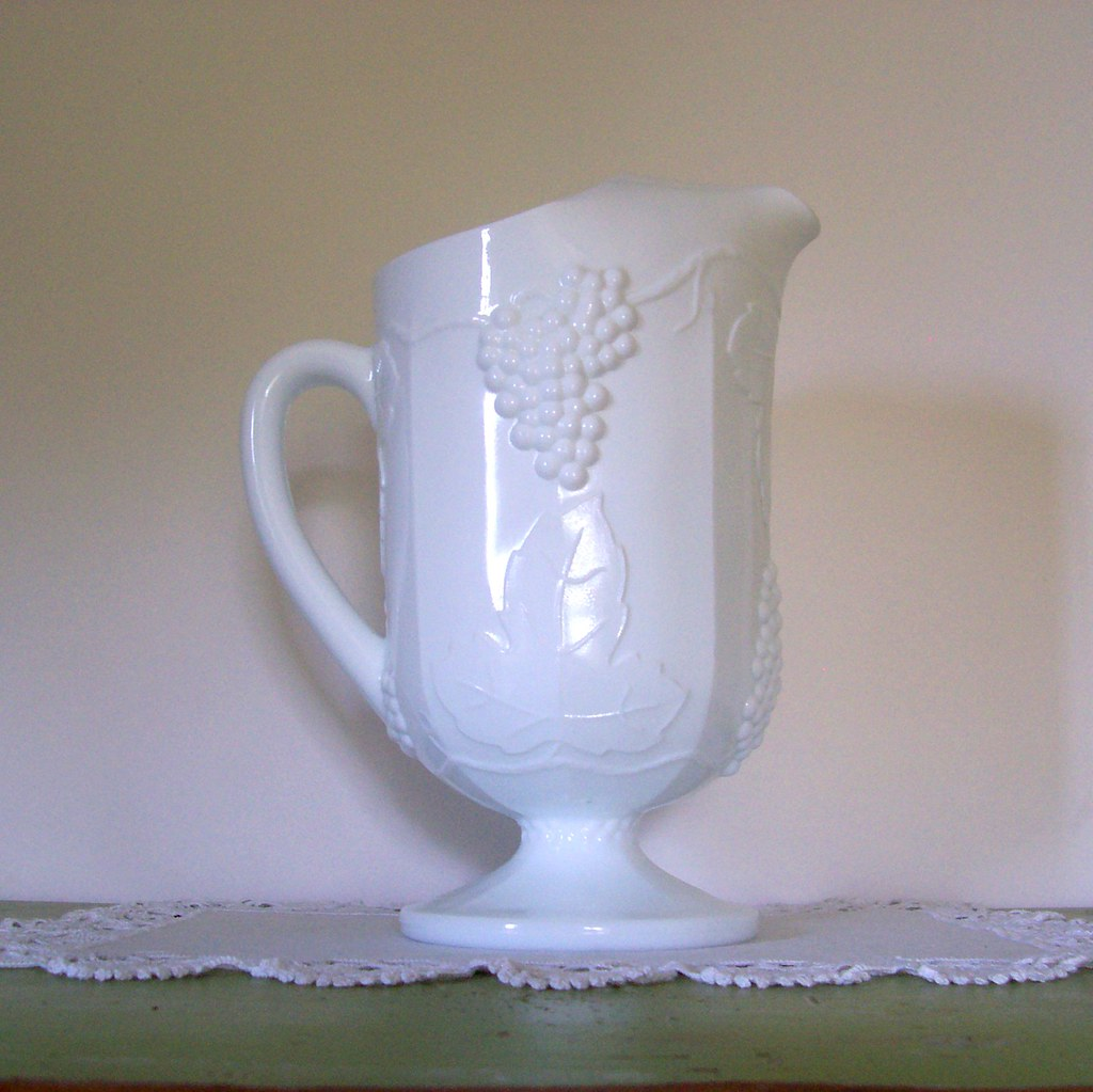 Vintage White Milk Glass Pitcher Colony Harvest Grape by Indiana Glass