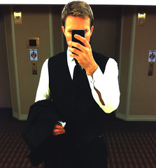 Late Night/Self Portrait (Reid Kasprowicz) Tags: wedding selfportrait hotel formal latenight suit tuxedo cigarettes elevators tux iphone tumblr gpoyw flareformac