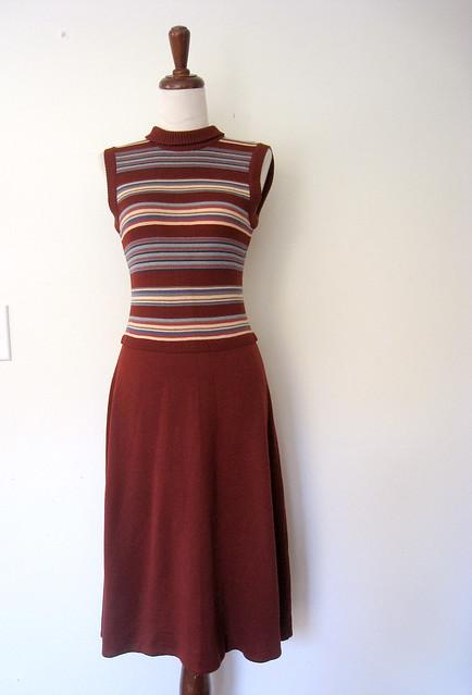 Striped Knit Sweater Dress, vintage 70s