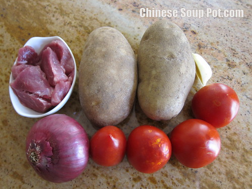[photo-ingredients for potato and tomato onion fish soup]
