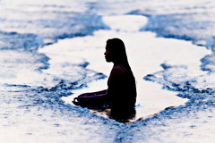 #850C4883- Meditation (crimsonbelt) Tags: sea beach water silhouette candid wave meditation balikpapan melawai