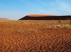 The stage is set... (missnoma) Tags: africa travel holiday stage dune earlymorning footprints namibia sossusvlei deadvlei namibnaukluftpark wispywhiteclouds nearsossusdunelodge