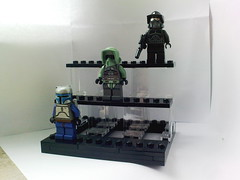 Minifigure display with figures on. (Jeroen_K) Tags: lego display jangofett minifigure kashyyyktrooper starwarsminifigures shadowarftrooper