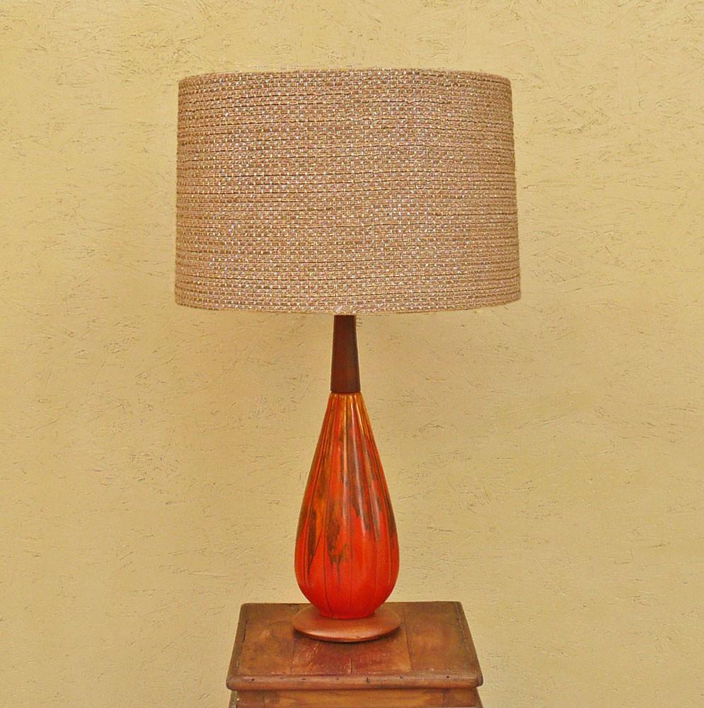 Vintage-Orange-Drip-Glazed-Ceramic Table Lamp