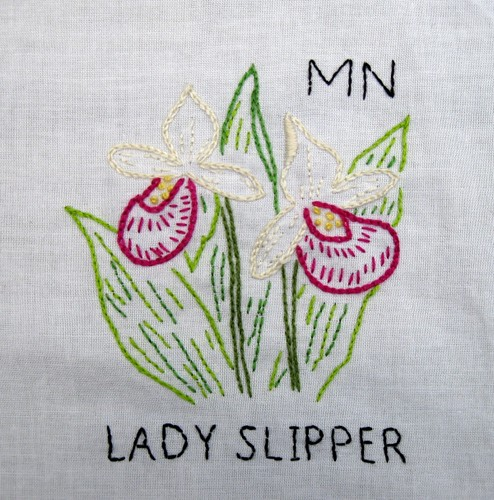 Lady Slipper Embroidery Block