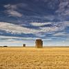 Hay Bale [Explore, #207, Sept 12, 2011] (Martin Mattocks (mjm383)) Tags: field clouds canon square golden bluesky explore hedge hay polarizer stubble mjm383 martinmattocksphotography