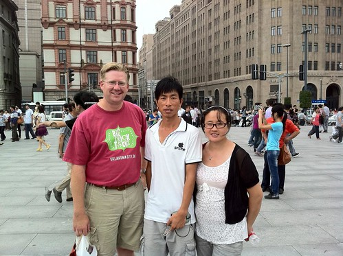 A photo with new Chinese friends on The Bund