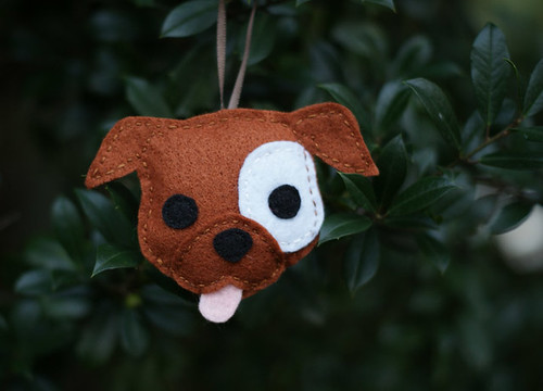 Felt Pitbull Ornament - Brown