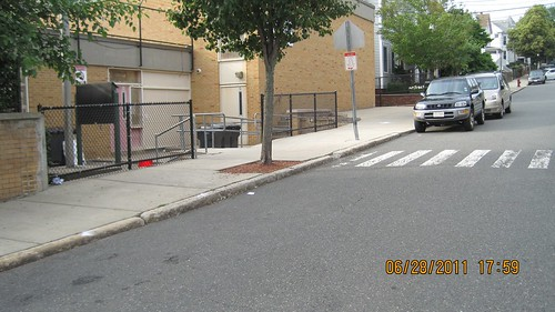 Somerville Cummings School inaccessible crosswalk, 2011