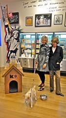 Fashion & Fido (Lynn Friedman) Tags: sanfrancisco dog chien fashion liberty coat makeup doghouse statueofliberty fillmore cosmetics patriotism raincoat k9 keils lynnfriedman streetspeople