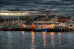 Stornoway Harbour at Dusk (Grim Git) Tags: 3 castle photoshop lens harbor scotland nikon shot harbour dusk streetlights nikkor westernisles grounds hdr afs isleoflewis lightroom stornoway outerhebrides lews photomatix tonemapped tonemapping d5000 1685mm
