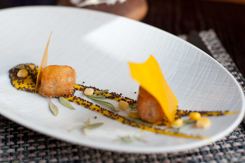 Pork belly and smoked eel croquettes