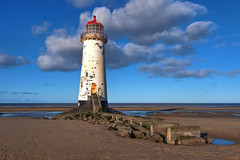 Point of Ayr - HDR (Etrusia UK) Tags: old uk greatbritain sea sky lighthouse beach water wales clouds landscape geotagged landscapes sand nikon britishisles zoom unitedkingdom britain sandy horizon footprints wideangle bluesky gb beaches historical disused f22 hdr pictureperfect flintshire talacre paintwork