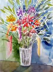 Flowers 03 (Dona Mincia) Tags: flowers stilllife flores art watercolor painting paper study jar vase aovivo vaso aquarela naturezamorta fromlife donatural