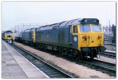 Class 50  50047 50028 Newton Abbot 2/3/81 (Stapleton Road) Tags: english electric diesel tiger locomotive freight newtonabbot sulzer swiftsure class50 class47 50047 50028