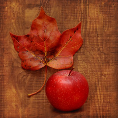 Treasures of Autumn (njk1951) Tags: autumn red apple squareformat autumnleaf warmcolor woodtones richcolor blinkagain