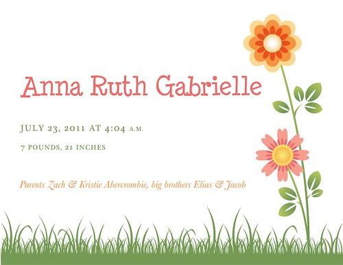 Anna Ruth's birth announcement