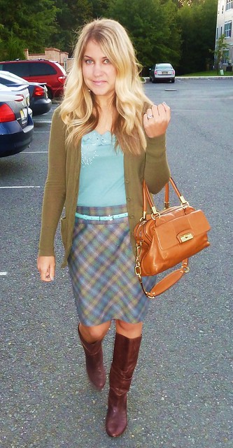 Green and Blue Plaid Skirt Work Outfit