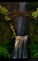Multnomah Falls, Oregon, USA (Ann Badjura Photography) Tags: longexposure morning bridge light people usa nature oregon landscape waterfall scenery multnomahfalls blinkagain