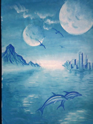 Peisaj de vis cu delfini