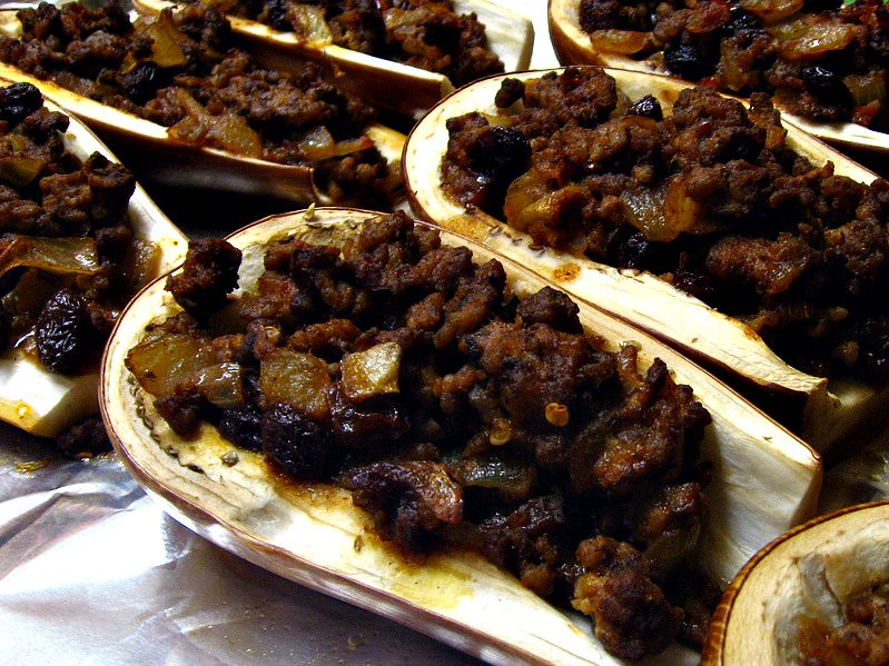 Picadillo filled eggplant boats