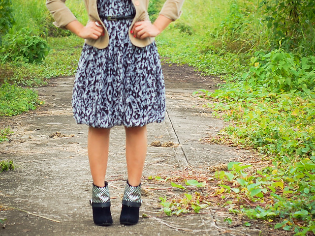 thrift jacket and dress, fake Otway booties