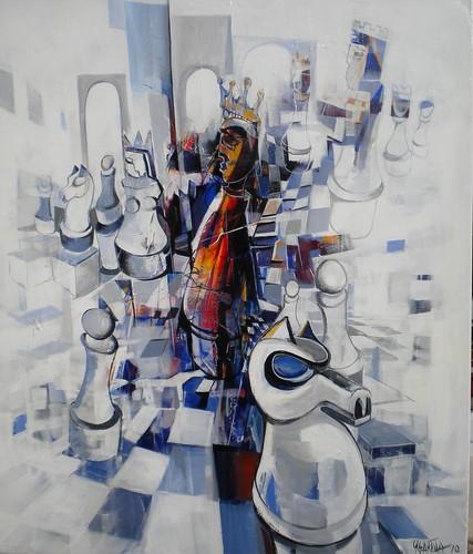 Blue Horse - Painting - Cubism