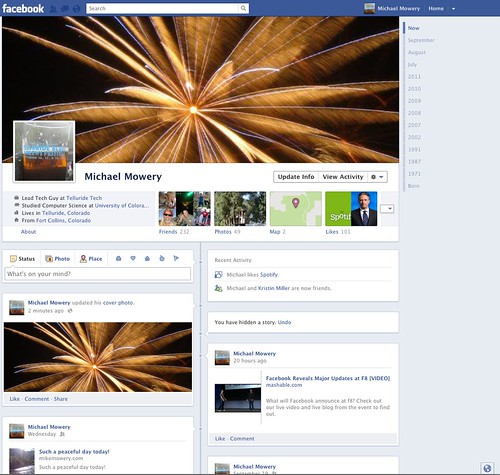 Trying out the new Facebook Timeline by MichaelMoweryMedia