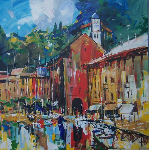 Portofino Harbour - Painting by Paul Ygartua
