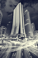 Sompo (planet-110) Tags: longexposure light urban blackandwhite bw architecture night tokyo cityscape   traffictrails sinjuku  lightstream sompojapanbuilding