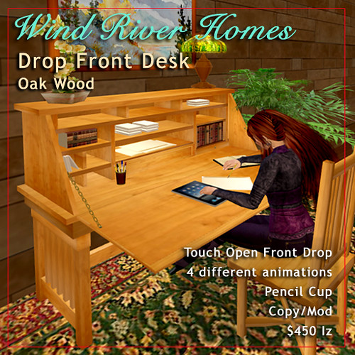 Drop Front Desk - Oak by Teal Freenote