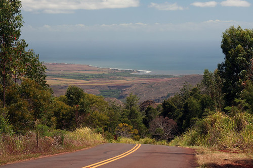view of the coast from Waimea Canyon Road