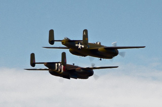 "Flying the ""Final Mission"" 2 B-25 WII era bombers bring the 2011 Fly Day Season to a close"