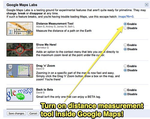 Distance measurement tool in Google Maps