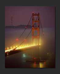 Golden Gate Color Temperature (RZ68) Tags: california bridge light color film water colors fog night mediumformat lights golden bay gate san francisco marin foggy velvia goldengatebridge goldengate headlands 6x7 provia presidio ggnra e100 rz68