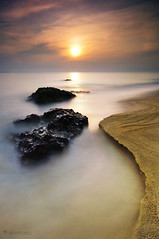 bukit kluang sunrise (sirman88) Tags: longexposure seascape motion beach port sunrise outdoors photography sand nikon dusk geometry rocky malaysia slowshutter pantai terengganu calmness revisited ndfilter nd400 2011 d90 traveldestinations colorimage gnd8 rockyseascape bukitkeluang tokina1116 azmanrahman sirman88