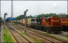 Twin BNDM WDG-3A (Ankit Bharaj) Tags: india electric port train canon photography is mail diesel indian tracks rail container route rake locomotive 100 express enthusiast mast signal railways railfan dlw freighter shakti ankit flatbed sx vizag alco railfanning orrisa irfca bharaj sambalpur wdg3a bndm boundamunda indiactor
