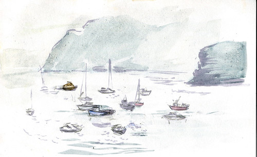 Portree harbor view, thick mist