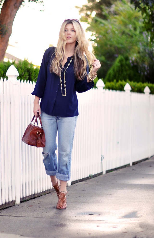 Navy blouse with vintage bag  -   old levis and jewelry