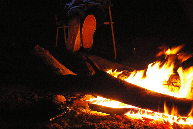relaxation by the campfire