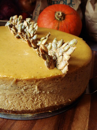 Spiced Pumpkin Cheesecake with Candied Pepitas