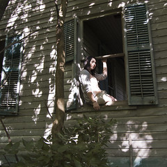 (tinyearthquakes) Tags: trees light summer portrait house selfportrait abandoned window nature girl sunshine forest self illinois woods sitting patterns seat september filter ledge sit 2011