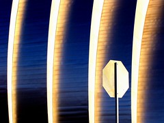 Stop Light (Lord Jezzer) Tags: light reflection dark niceshot curves perspective stopsign stoplight kauffmancenter musictomyeyeslevel1