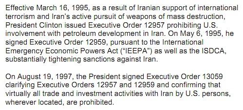 Iran embargo details