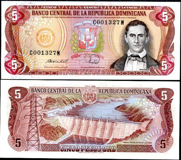 5 Pesos Oro Dominikánska Rep. 1988, Pick 118c