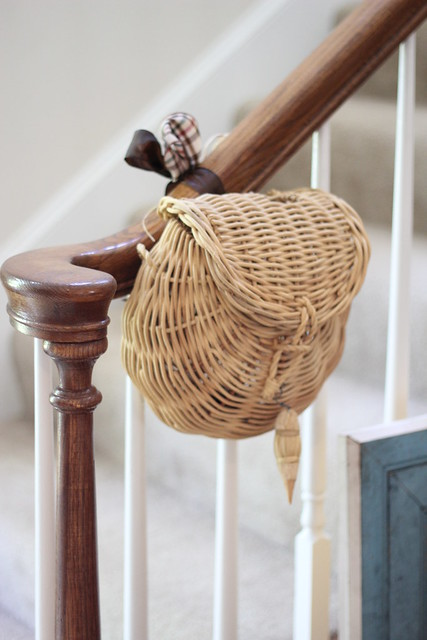 fishing basket on stairs