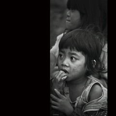 Childhood hardship (-clicking-) Tags: life portrait blackandwhite bw monochrome childhood kids children blackwhite mood child faces emotion country poor streetlife vietnam imagine visage nocolors hardship vietnamesechildren bestportraitsaoi