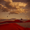 the valley of life (brookeshaden) Tags: red bird girl clouds blood sand alone desert surrealism dunes fabric whimsical fineartphotography brookeshaden texturebylesbrumes