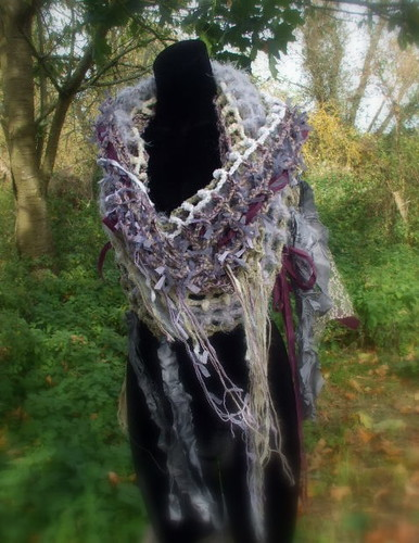 Fairytale Cowl no4 - Cinderella - Tattered Couture Ethereal, Crochet Wearable Art Cowl in Lilac, Cream,White, Grey and Purple
